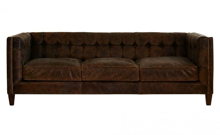 Distressed leather, tufting, brass nailheads and low profile. Dreamy...    --  Abbott Sofa