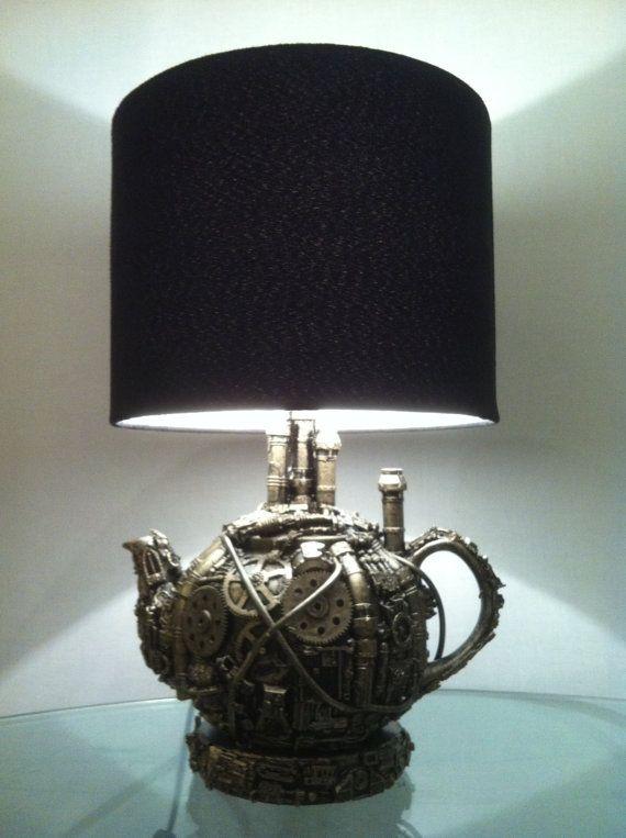 techno steampunk teapot lamp base by richardsymonsart on Etsy, $150.00