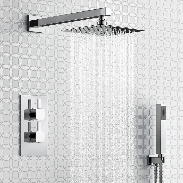 200mm Square Stainless Steel Wall Mounted Head, Handheld & Thermostatic Mixer Shower Kit - Slimline - soak.com
