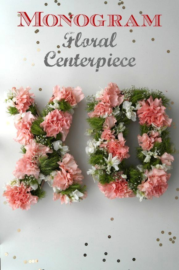 Learn to make this lovely Monogram Floral Centerpiece DIY, perfect for a baby shower, bridal shower, or wedding! See more crafts at CatchMyParty.com.