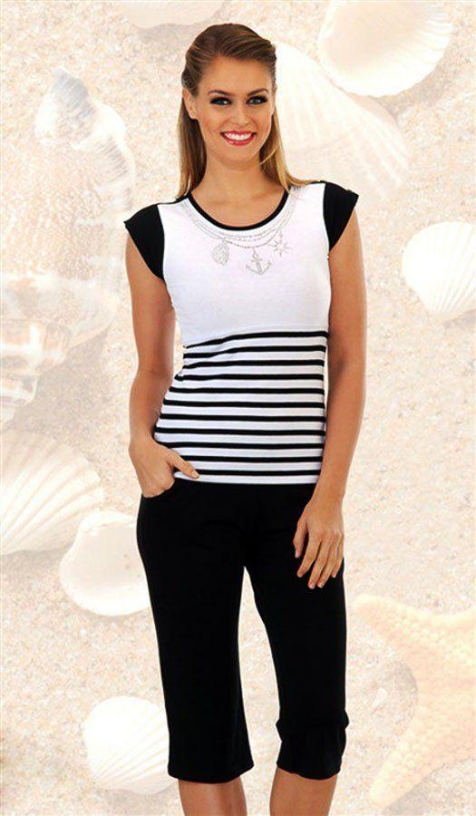 Pyjama Sommer-Homewear, Hausanzug in schwarz-weiß mit Streifen und Ankermotiv, Matrosen-Stil