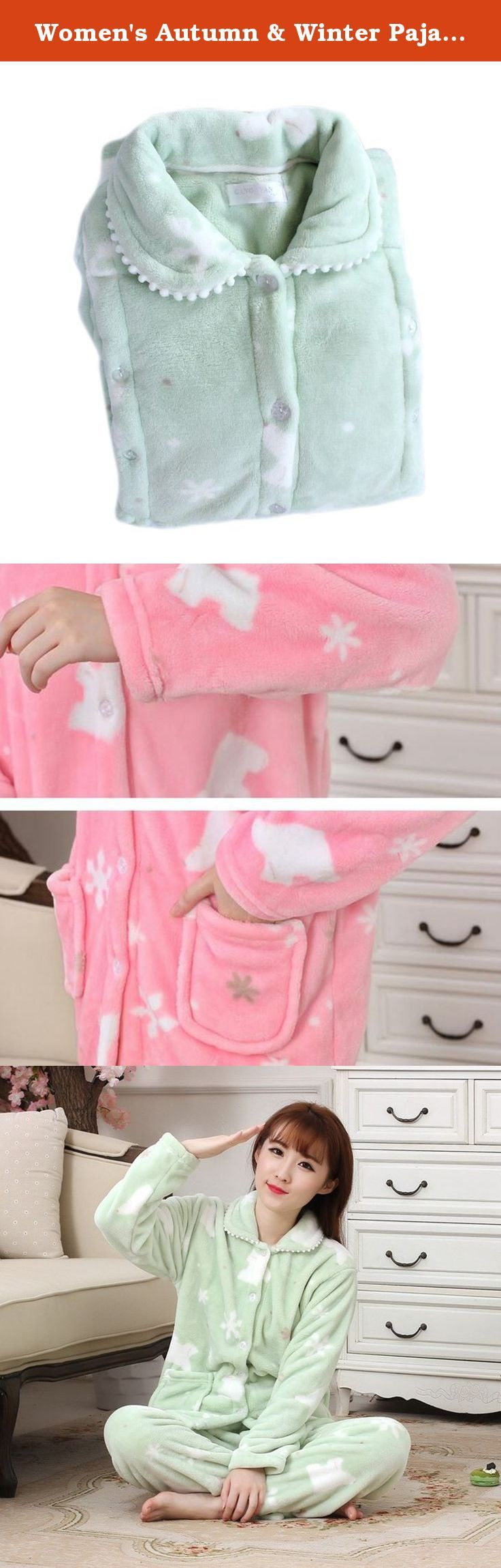 Women's Autumn & Winter Pajamas Thick Flannel Pregnancy Lactation Leisure Wear green M. Features: Natural fine fibers Soft and smooth Thick and warm Fast colors Waist size can be adjusted Parameters: Material: polyester fiber Weight: 350g Color: pink, green Size: M, L, XL Size Chest circumference (cm) Clothes length (cm) Pants length (cm) Waist Circumference (cm) Hip Circumference (cm) Shoulder width(cm) M 104 65 99 80-100 105 42 L 107 68 101 85-112 110 45 XL 110 70 103 88-114 115 48…