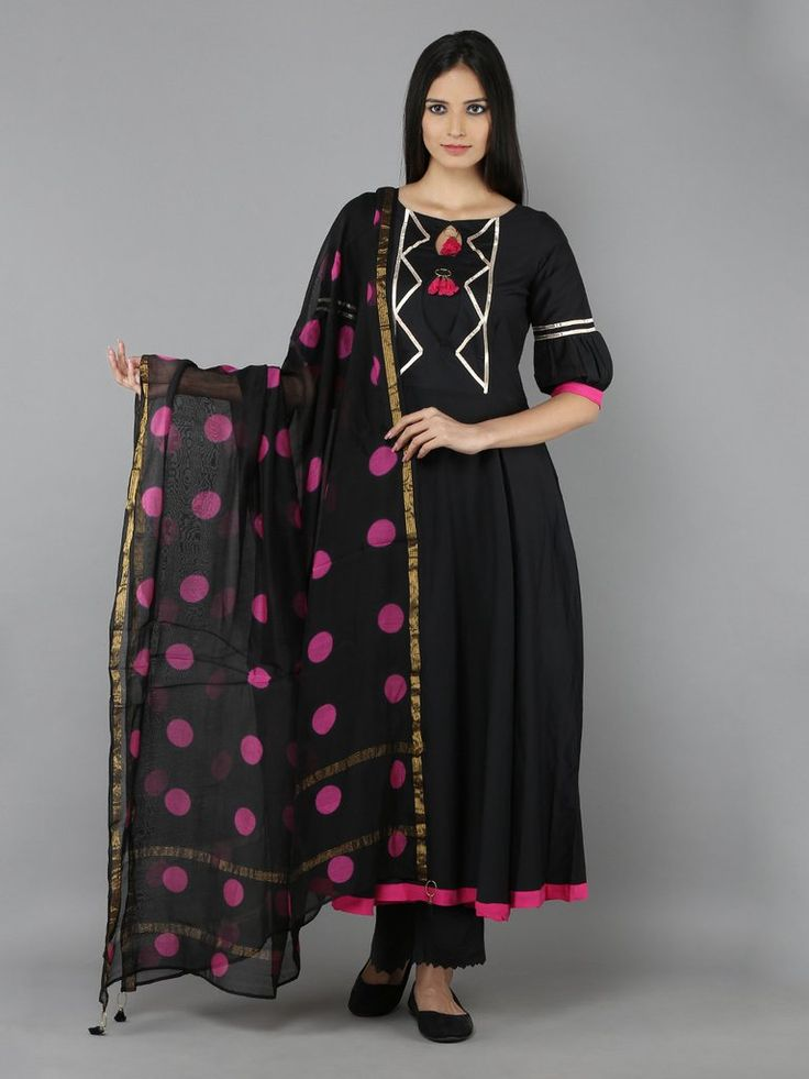 Black Pink Cotton Silk Long Kurti with Palazzo and Chanderi Dupatta - Set of 3