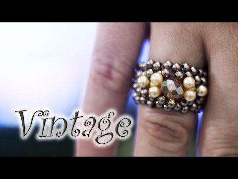 Artesanato passo a passo: Anel de cristal e pérolas vintage - YouTube
