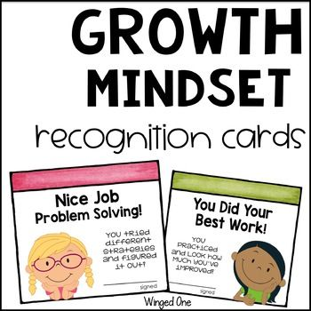 "Focus on the positive things your students are doing to develop a growth mindset with these fun student recognition cards! Recognize their hard work, effort, problem solving, and positive attitude with phrases such as ""You Tried, Even When It Got Hard!"" ""You Were Kind to Others!"" and ""You Kept a Great Attitude!"". This set includes eight different cards with both boys and girls, in color and in black line."