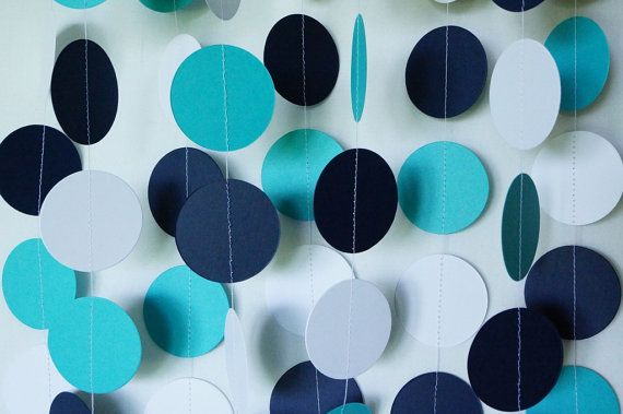 Teal, Navy and White Paper Garland, Teal, Navy Wedding Decor, Teal / Navy Birthday Decoration, Teal Baby Shower Decor, Teal Birthday Party,