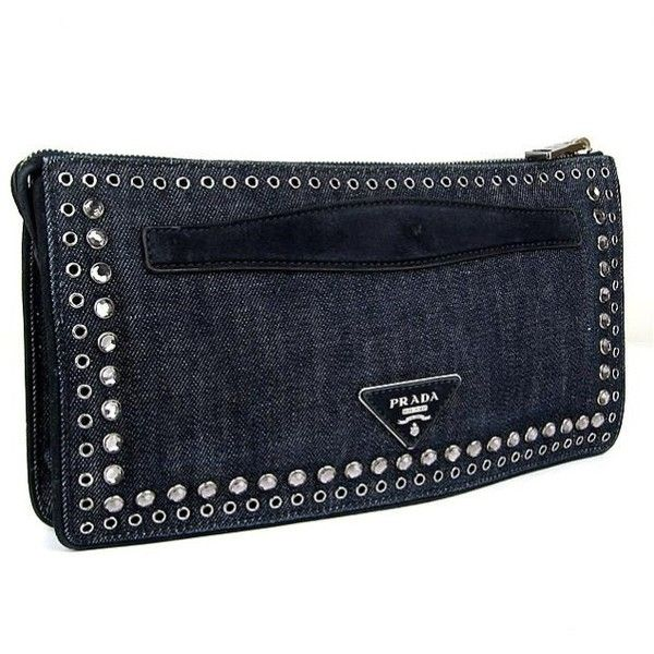 Prada Bijou Studs Clutch Second Bag Denim Blue 31406 ($949) ❤ liked on Polyvore featuring bags, handbags, clutches, studded purse, blue handbags, blue clutches, prada handbags and blue studded purse