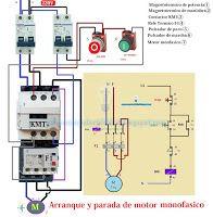 Esquemas eléctricos: Esquema eléctrico arranque y parada motor monofási...