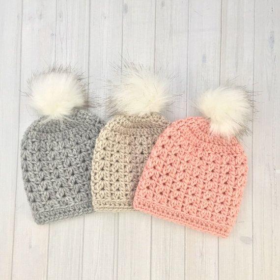 Crochet Baby Girl Hat, Crochet Pom Pom Hat, Newborn Hat, Photoshoot Hat, Baby Girl Pom Pom Hat, Faux Fur Pom Pom Hat, Baby Hat, Newborn Hat