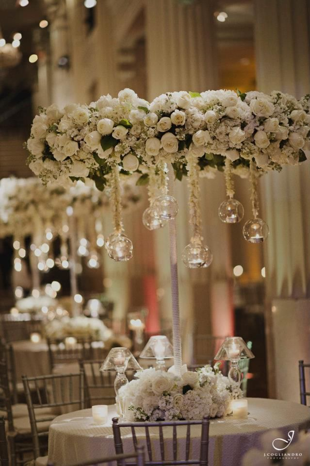 White floral chandelier centerpieces flower for Floral table decorations for weddings
