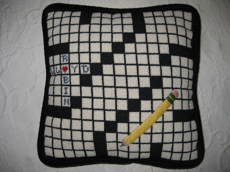Crossword Needlepoint - original design.  The pencil is overstitched to give a raised effect.