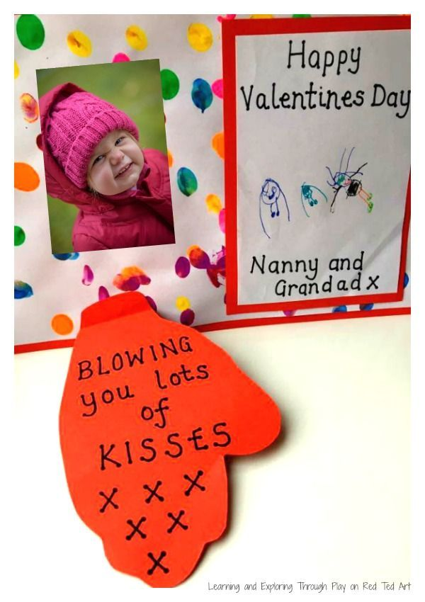 """Cute Toddler """"Blowing a Kiss"""" Handprint Card for Valentine's Day. Love easy Valentine Cards for kids to help make!"""