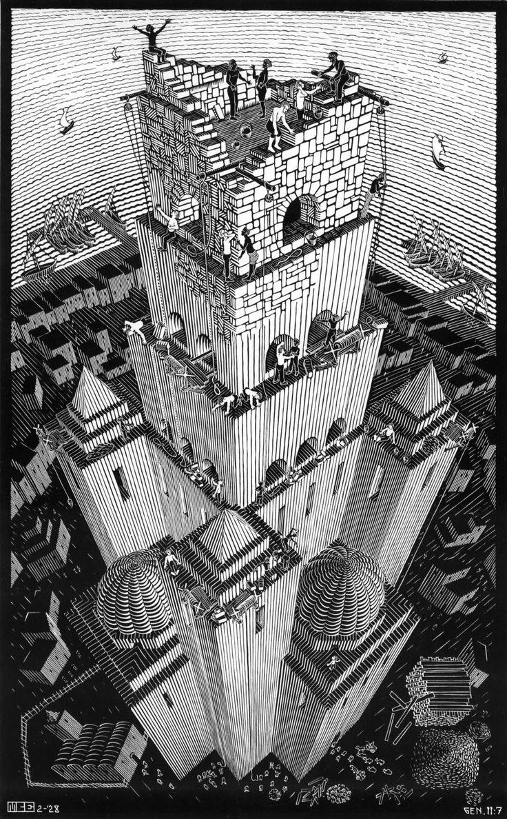 """ATC en stock: L'illusion de M.C Escher  """"La tour de Babel"""" 1928"""