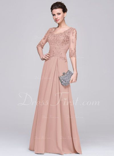 9177fa3ea6c9 A-Line/Princess Scoop Neck Floor-Length Chiffon Mother of the Bride Dress  With Ruffle Beading Appliques Lace Sequins (008058408) - DressFirst