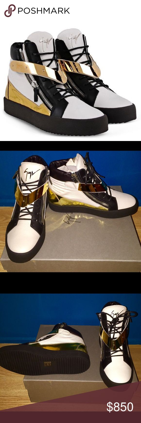 Giuseppe Zanotti - Men High-top sneaker. BRAND NEW. Giuseppe Zanotti - Men High-top sneaker. Black and white calfskin leather with gold mirror patent trim and V-strap plate. Giuseppe Zanotti Shoes Sneakers