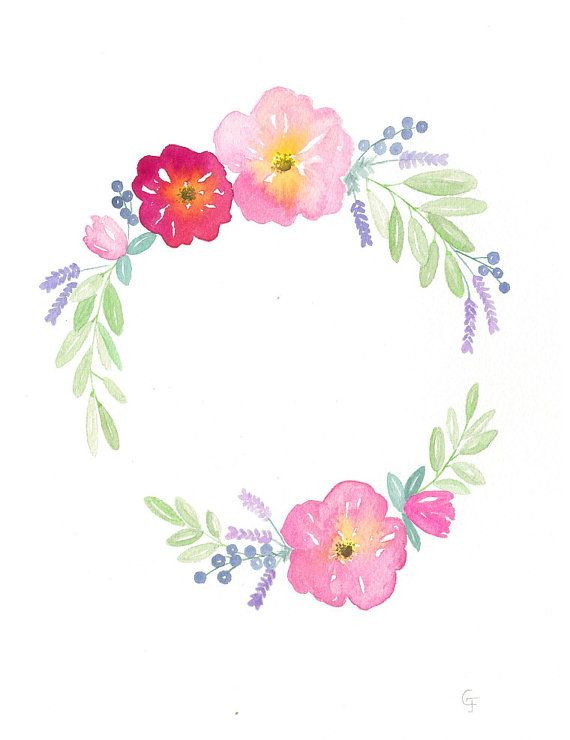 Original Custom Watercolor Flower Wreath  by RosalinaDesign