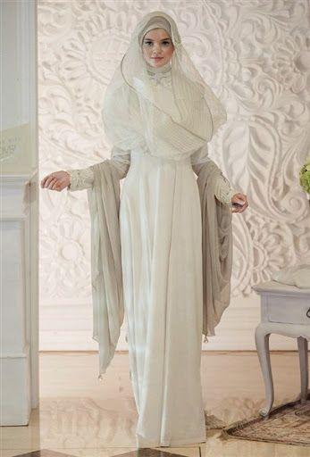 gambar dan foto desain baju dan model gaun hijab pengantin wanita islami muslim yang syar'i terbaru 2015