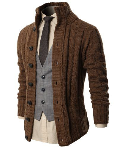 H2H Mens High Neck Twisted Knit Cardigan Sweater With Button Details BEIGE