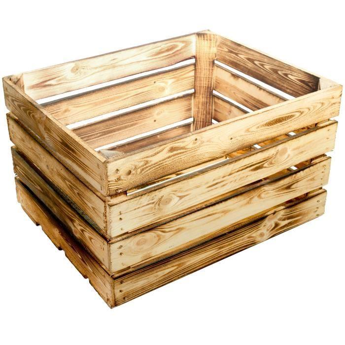 Lot De 4 Nouvelles Cagettes En Bois Flambe 50 X 40 X 30 Cm Rangement Bois Cagette Bois Caisse Rangement