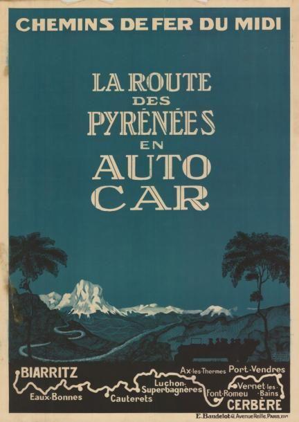 chemins de fer du midi - La route des Pyrénées en auto-car - Biarritz - Cerbère - France