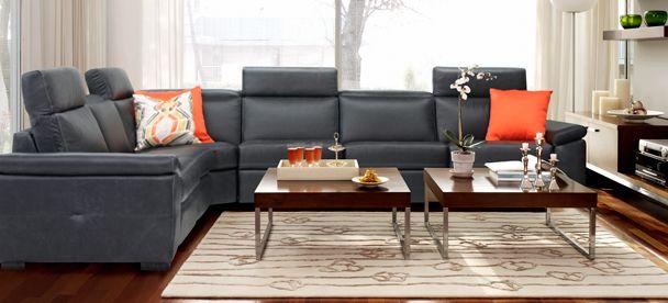 Sectional London - Contemporary Style - Optima Collection -------------------------- Sectionnel inclinable, appui-tête ajustable, cuir noir, plusieurs configuration disponible. Causeuse, fauteuil, salon, appartement, maison, décor, sofa, modulaire. Fait au Canada. ---------------------------- Sectional, recliner, adjustable headrest, black leather, choose your configuration. Loveseat, accent chair, livingroom, apartment, house, decor, sofa, modular. Made in Canada.