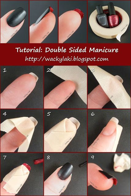 Tutorial: Double Sided christian louboutin Manicure. Place tape on the skin behind your nail and paint the inside of your nail red, then paint the top of your nails black. Don't forget to paint the tips of your nail! These are just fabulous