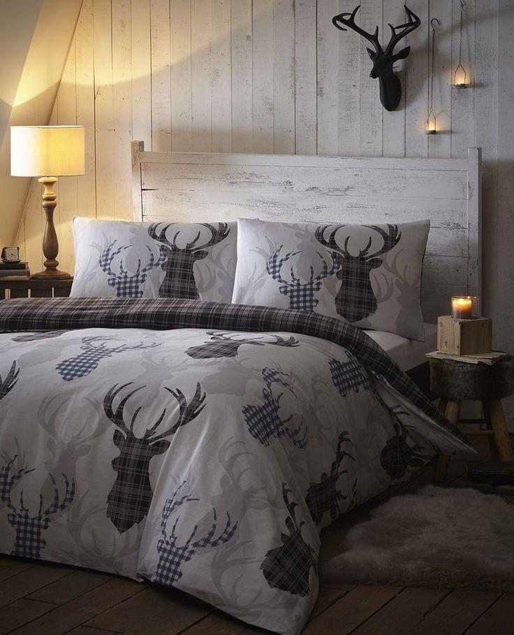 TARTAN CHECK STAG REIN DEER ANTLERS DUVET QUILT COVER BEDDING BED LINEN SET GREY