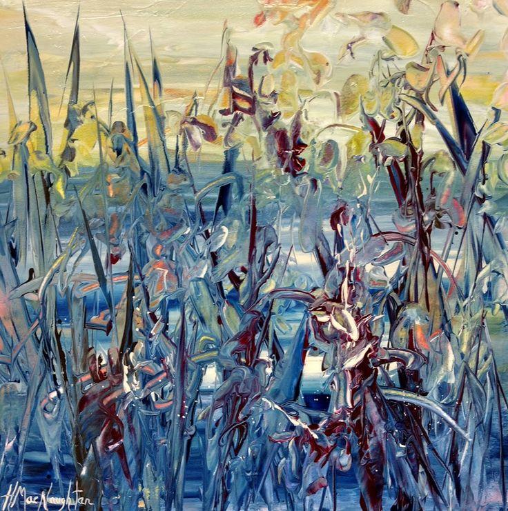 October Shoreline 12x12 inches ~ Acrylic on canvas painting by Hanna MacNaughtan