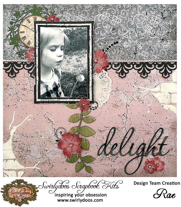Delight ~ Feminine, vintage look page with a beautiful border and great distressing.