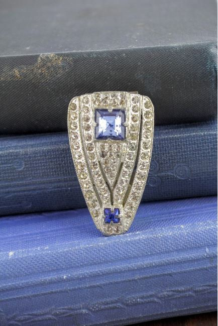 Art Deco Blue and Clear Rhinestone Sash Clip  by LoAndCoVintage