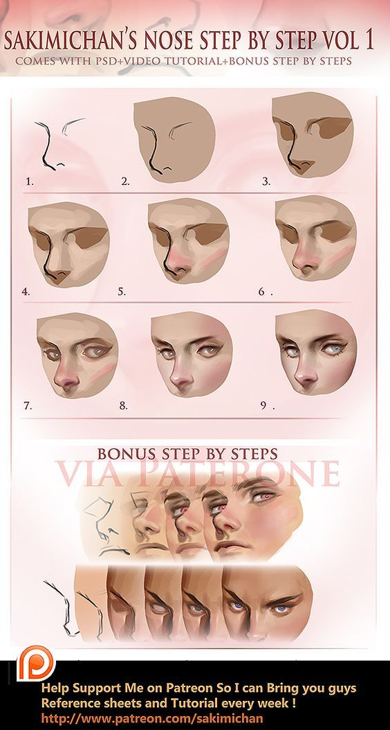 Nose tutorial by sakimichan on DeviantArt | coloring/texture | Pinterest