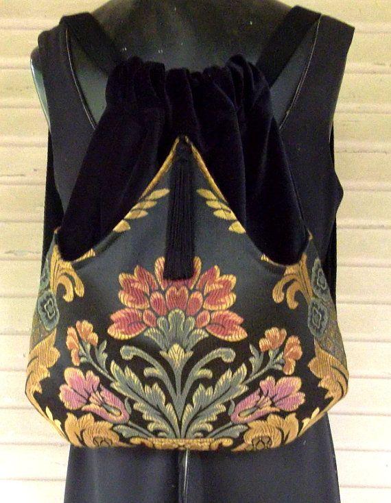 Black Floral Backpack   Boho Backpack  Backpacks  Hippie Backpack  Black…