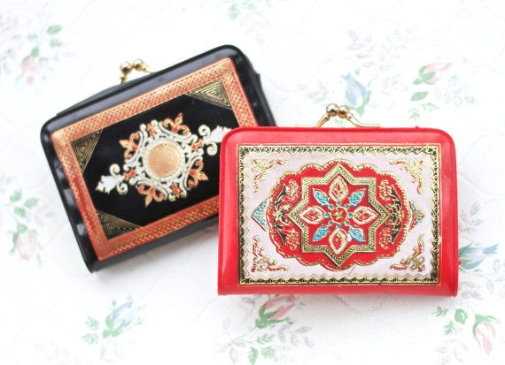 Pair of Coin Purse  Black and Red with Twist by MeangleanAlchemist