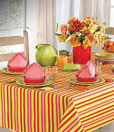 Superior Fiesta Calypso Stripe Sunflower Table Linens #Dillards Coordinates With  Sunflower, Lemongrass, Tangerine