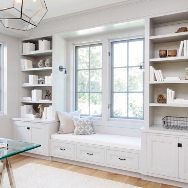 in shelves built in cabinets benches home sconces the window white