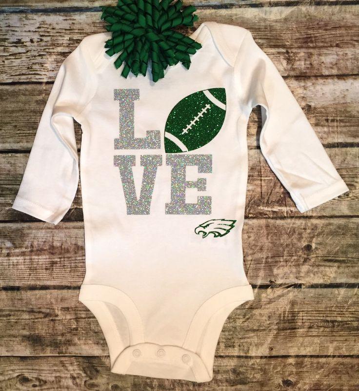 Philadephia Eagles Football Onesie, Baby Girl Football Onesie, Philadelphia Eagles Shirt, Sparkle Football Onesie, Onesie For Baby Girls by BellaPiccoli on Etsy https://www.etsy.com/listing/250670116/philadephia-eagles-football-onesie-baby