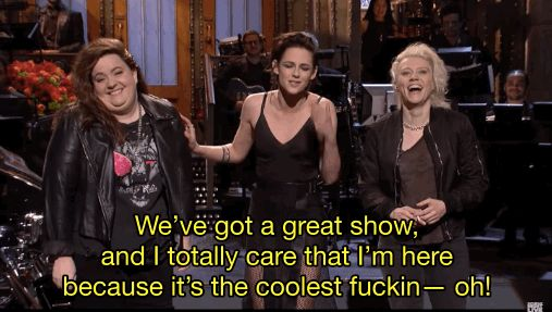"""Basically, Stewart was nearing the end of her monologue, and, in what could have been a moment of excitement or just sheer relief that her monologue was over, she accidentally made some changes to her lines. 