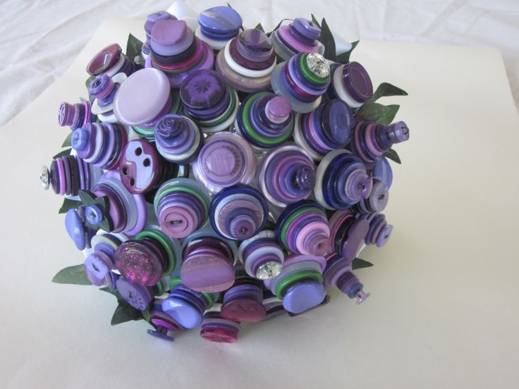 Purple Button wedding Bouquet with hints of green and touch of white by Over the Top Floristry