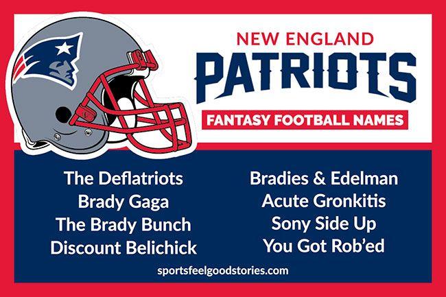New England Patriots Fantasy Football Team Names Funny Clever Best Football Names Fantasy Football Names Football Team Names