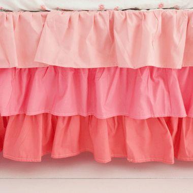 Coral Crib Bedding Rail Cover Set | Coral Baby Bedding | Baby Girl Bedding