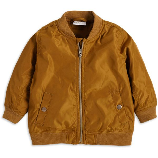 Padded Bomber Jacket (£7.80) ❤ liked on Polyvore featuring outerwear, jackets, brown bomber jacket, blouson jacket, bomber jacket, padded jacket and bomber style jacket