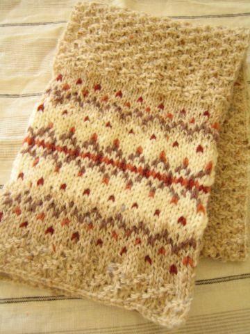 棒針で編んだ、編みこみ模様のマフラーが完成しました☆ かのこ編みと、両端はメリヤス編みの編みこみ模様です。  「冬の定番小もの マフラーと帽子」雄鶏...