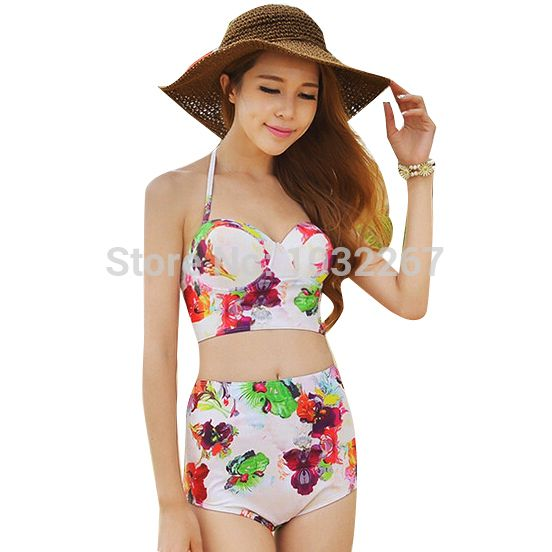 2015 Hot Sale Vintage High Waisted Swimwear Push Up Bathing Suit Korean Bikini Floral Print Highwaisted Swimsuit Halter Crop Top-in Bikinis Set from Women's Clothing & Accessories on Aliexpress.com | Alibaba Group