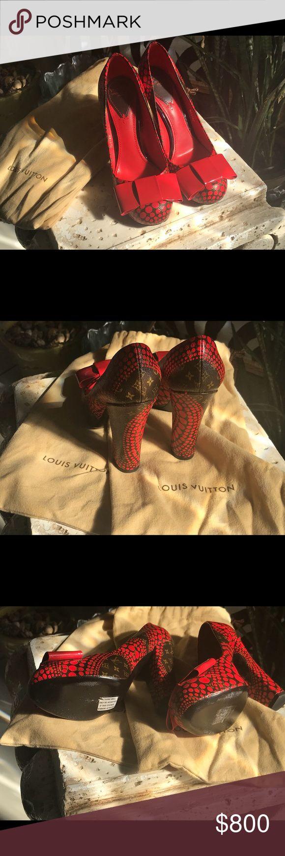 Louis Vuitton size61/2 Kusama monogram vernis dots Size 61/2 Louis Vuitton red/Black Kusama monogram verbiage dots infinity pump shoes Louis Vuitton Shoes Heels