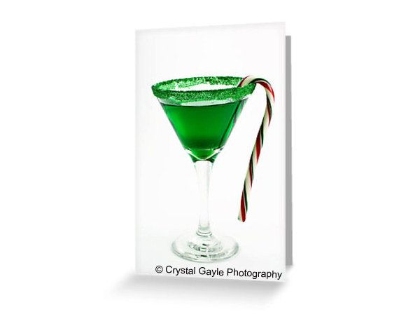 Christmas Card martini art emerald green candy cane bright red white cocktail glass http://ift.tt/17IAgPw
