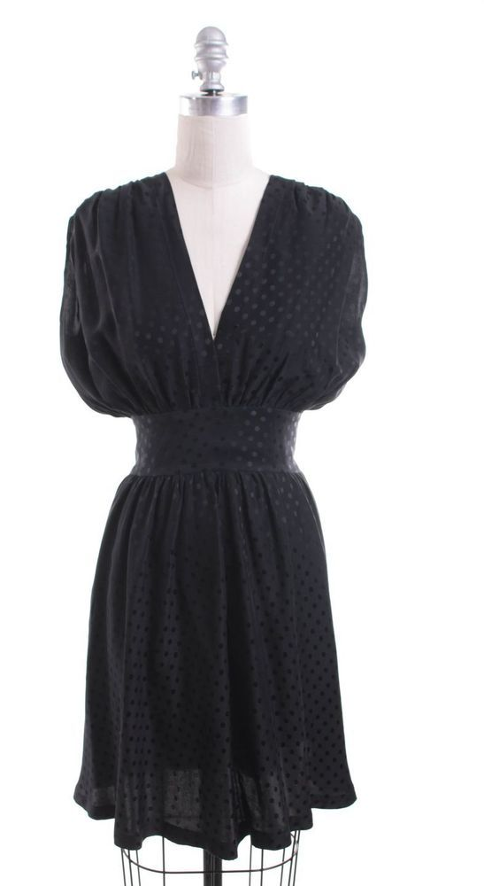 BALENCIAGA Black Silk Polka Dot Blouson Tie Waist Dress Size 8 FR 40 #Balenciaga #Blouson #LittleBlackDress