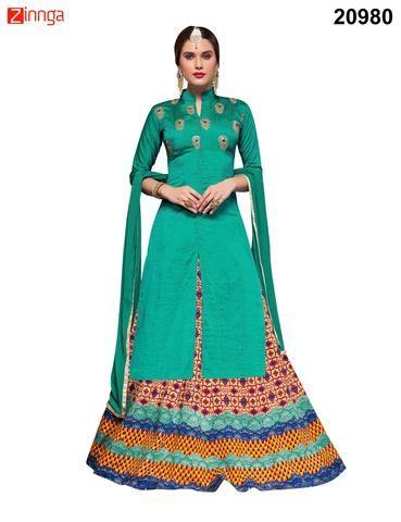 VIVA N DIVA- Turquoise Colored Bhagalpuri Silk Salwar Suit- 20980 -1