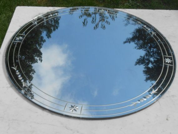 Large Antique Art Deco Frameless Etched Round Mirror