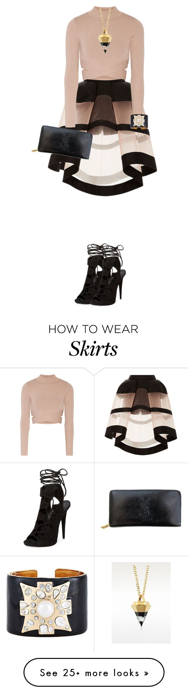 """Delpozo Skirt"" by cherieaustin on Polyvore featuring Delpozo, Jonathan Simkhai, Yves Saint Laurent, Giuseppe Zanotti, Vita Fede and Kenneth Jay Lane"