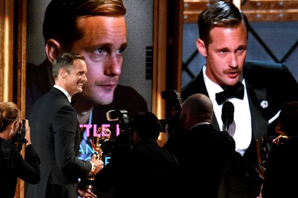 Alexander Skarsgard Photos - Actor Alexander Skarsgard accepts Outstanding Supporting Actor in a Limited Series or Movie for 'Big Little Lies' onstage during the 69th Annual Primetime Emmy Awards at Microsoft Theater on September 17, 2017 in Los Angeles, California. - 69th Annual Primetime Emmy Awards - Show